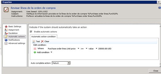 How to set a Work flow on purchase orders lines - Microsoft